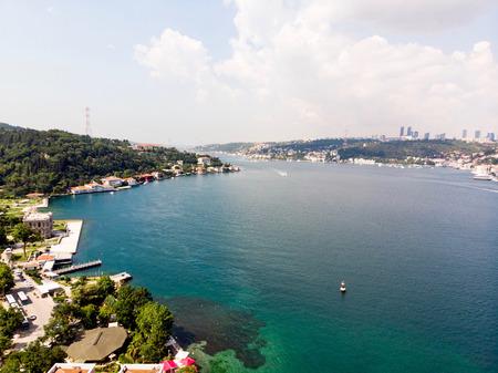 Aerial Drone View of Istanbul Bosphorus, Kandilli  Beykoz. Cityscape.