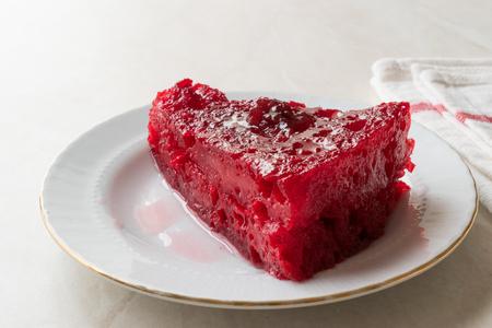 Turkish Dessert Visneli Ekmek Kadayifi  Bread Pudding with Cherry Sauce. Traditional Dessert.