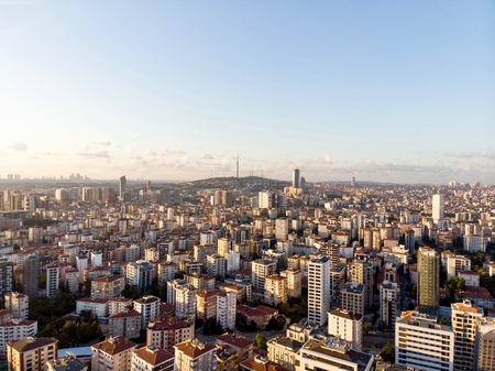 Aerial Drone View of City Apartment Buildings in Goztepe Istanbul  Turkey. Cityscape. Stock Photo