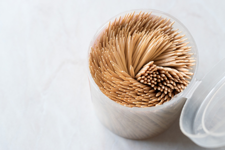 Wooden Toothpicks in Plastic cup. Useful Stuff / Tool for Food.