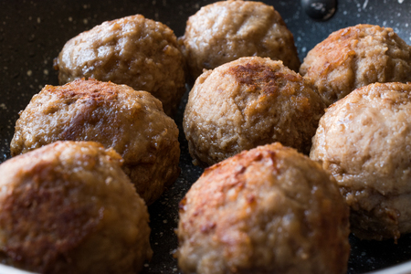 Plain Meatballs Served with Pan. Organic Food.