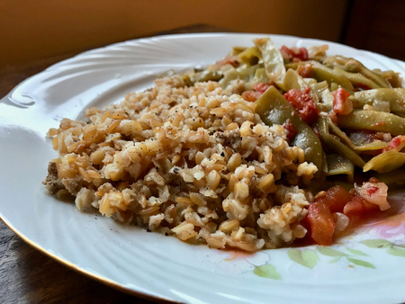 Bulgur Rice made with Siyez Unu Einkorn Flour (Triticum monococcum) with Green Beans Zeytinyagli Fasulye  Pilav or Pilaf. Organic Food.