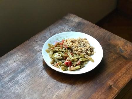 Turkish Food Green Beans with Olive Oil / Zeytinyagli Fasulye with Bulgur Rice Pilav or Pilaf. Traditional Organic Food. Stok Fotoğraf - 107861354