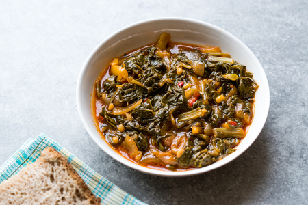 Homemade Healthy Chard with Rice, Onions and Tomato Paste / Turkish Food Pazi. Traditional Organic Food.