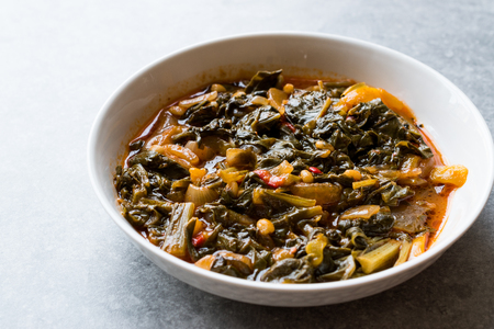Homemade Healthy Chard with Rice, Onions and Tomato Paste  Turkish Food Pazi. Traditional Organic Food.