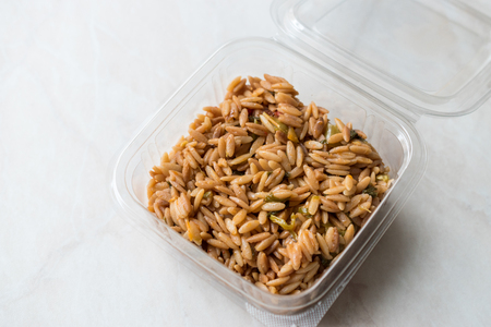 Turkish Style Cooked Orzo Pasta in Plastic Box  Pilav or Pilaf. Organic Food.