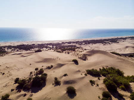 Aerial View of Patara Beach and Sand Dunes in Antalya Province Turkey. Vacation in Turkey. Stock Photo
