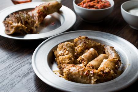 Turkish Food Minced Meat and Rice Stuffed Tripe Mumbar Dolma with Sirdan / Shirdan Dolmasi. Traditional Food. 版權商用圖片