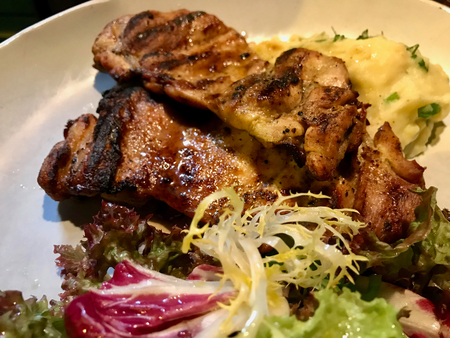 Grilled Chicken Fillets with Puree and Salad (lemon flavored). Organic Food.