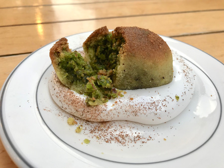 Turkish Mersin Dessert Kerebic with Pistachio Powder and Soapwort Cream  Coven Weed. Traditional Food. Stock Photo