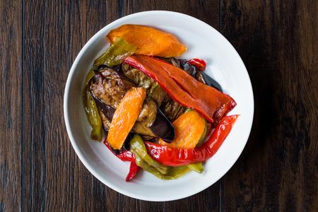 Turkish Food Style Fried Vegetables, Red Pepper, Aubergine, Carrot, Hot Pepper and Onions / Sebze Kizartma. Organic Food.