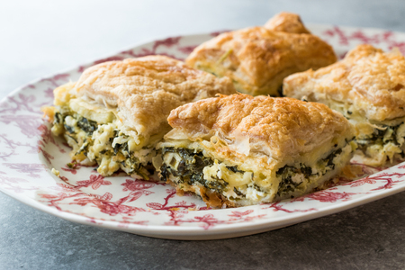 Turkish Borek Talas Boregi / Burek with Spinach and Cheese made with Mille Feuille. Traditional Food.