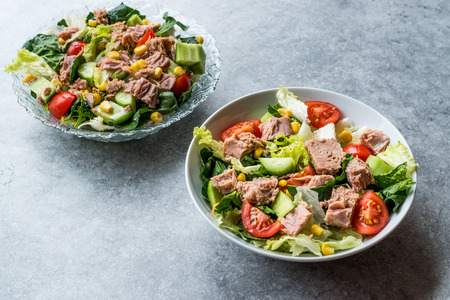 Tuna Fish Salad with Lettuce, Cherry Tomatoes, Cucumber and Corn. Organic Fresh Food.