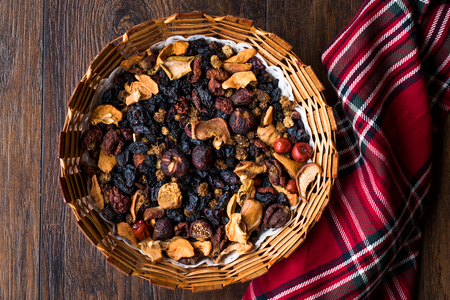 Mix of Dried Fruits; Apple, Apricot, Mulberry, Raisin, Fig, Cranberry, Raspberry and Date in Wooden Basket. Organic Snacks.