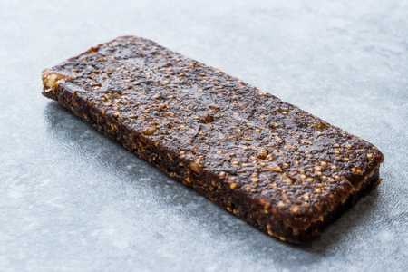 Gluten Free Raw Fruit Bar with Dried Fig, Walnut and Date Fruit. Organic Food.