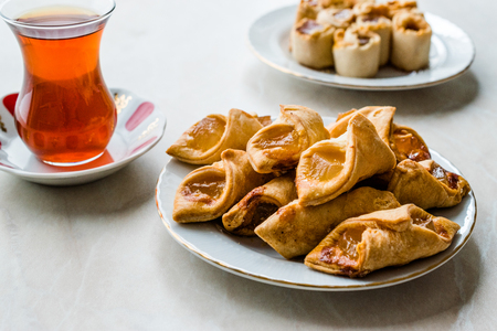 Homemade Turkish Delight Cookies with Traditional Tea  Biscuits.  Traditional Dessert.