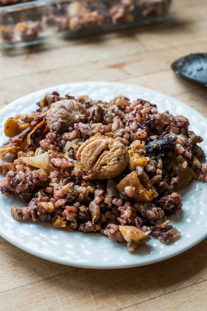 Chestnut Rice with Dried Fruits / ic Pilav or Pilaf. Traditional Organic Food.