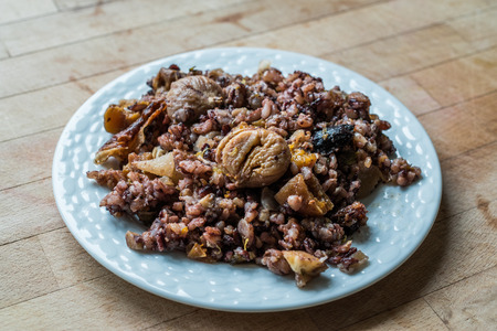 Chestnut Rice with Dried Fruits  ic Pilav or Pilaf. Traditional Organic Food.