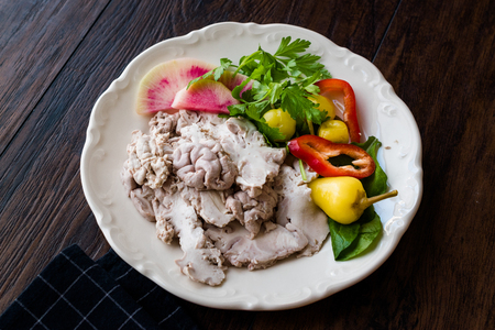 Turkish Offal Food Lamb Brain with Salad  Beyin Sogus served with Plate. Traditional Organic Food. Stock Photo