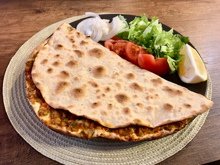 Lahmacun Turkish dishes / Turkish Pizzas, Lemon, Parsley. Traditional Food.