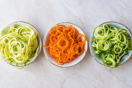 Spiralized Vegetables Noodle Carrot, Beetroot, Zucchini and Cucumber. Organic Food.