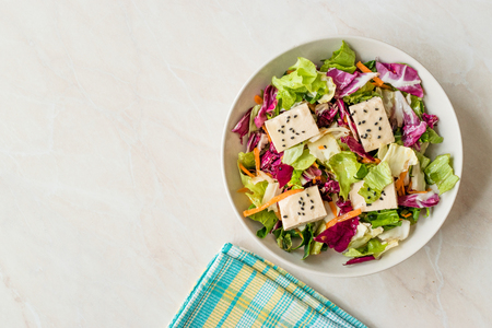 Organic Vegan Asian Tofu Salad with Red Cabbage, Lettuce and Carrot Slices. Organic Food.