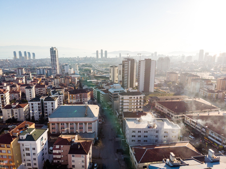 Aerial Drone View of Unplanned Urbanization City of Istanbul Kartal Yakacik. Cityscape. Editorial