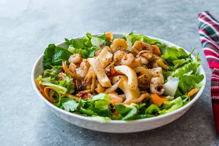 Mix of Seafood Salad with Calamari, Shrimp and Octopus. Organic Food. Stock Photo