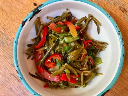 Fresh Organic Samphire Salad in Bowl  Crithmum maritimum. Organic Fresh Food.