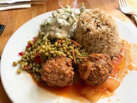 Turkish Olive Oil Healthy Food Plate with Mung Beans, Meatballs, Purslane Salad with Yogurt and Mushroom Rice Pilav / Pilaf. Organic Food. 写真素材