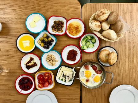 Turkish Breakfast on Wooden Table at Restaurant. Traditional Organic Food.