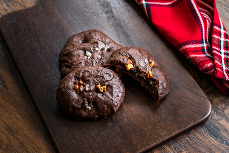Salted Brownie Cookies with Roasted Walnut Pieces. Organic Dessert Snacks.
