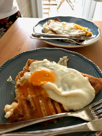 Homemade Toast with Fried Egg for Breakfast Ready to Eat. Organic Food. Reklamní fotografie