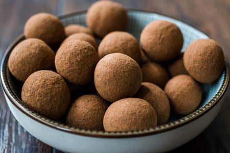 Tiramisu Flavored Chocolate Truffle Pralines / Sweet Mini Balls for Snacks. Traditional Organic Dessert.