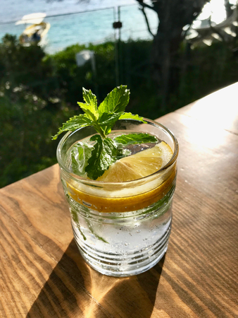 Summer Cocktail Gin Tonic with Fresh Mint Leaves on Wooden Surface Sea View on Holiday at Hotel. Beverage for Summer.