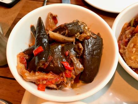 Turkish Olive Oil Food Eggplant  Aubergine with Oyster Mushroom and Red Pepper. Organic Food. Reklamní fotografie