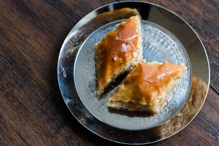 Baklava / Homemade Azerbajian Style with Walnut in Silver Plate / Pakhlava / Baklawa. Traditional Dessert.