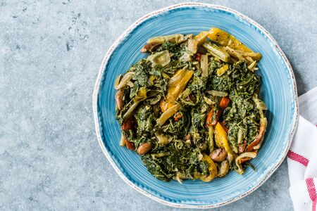 Homemade Healthy Chard Food with Olive Oil, Almonds and Julienne Vegetables  Turkish Food Pazi. Traditional Organic Recipe.