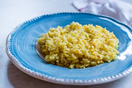 Italian Risotto with Saffron / Alla Milanese Style. Traditional Food.