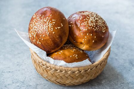 Hamburger Bun Bread with Sesame Seeds Ready to Use. Fast Food. Stock Photo