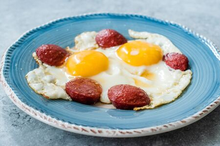 Turkish Breakfast Sucuk with Fried Eggs / Salami or Sujuk. Traditional Food.