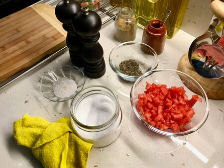 Kitchen Ingredients Sea Salt, Tomatoes, Thyme and Pepper Mill. Organic Stuff.
