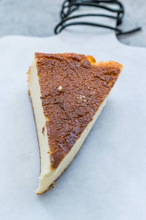 Ricotta Cheesecake Slice Close Up Macro View. Traditional Dessert. Stock Photo