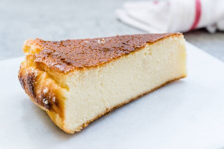 Ricotta Cheesecake Slice Close Up Macro View. Traditional Dessert. Foto de archivo