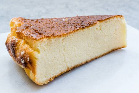 Ricotta Cheesecake Slice Close Up Macro View. Traditional Dessert. Stock Photo - 128992108