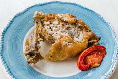 Turkish Food Topkapi Chicken Stuffed with Rice Pilav / Pilaf. Traditional Organic Food.