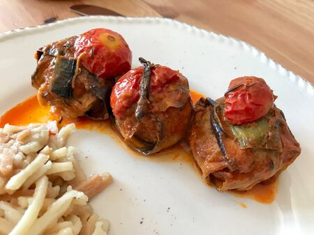Turkish Islim Kofta Kebab with Meatballs and Cherry Tomatoes Wrapped in Eggplant / Aubergine Slices. Traditional Food. Stock Photo