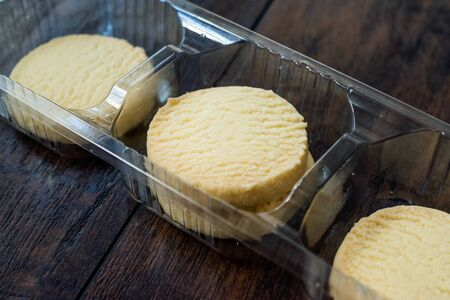 Butter Shortbread Cookies on Dark Wooden Surface / Short Bread Biscuits. Traditionao Sweet Snacks.