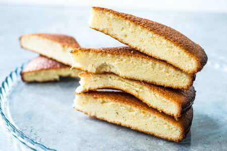 Sponge Cake Slices in Glass Tray. Ready to Serve. Homemade Dessert.