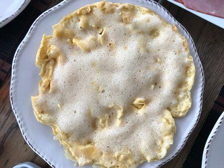 Foamy and Fluffy Omelette with Foam Homemade Mont Saint Michel Style for Breakfast. Organic Fast Food. Reklamní fotografie